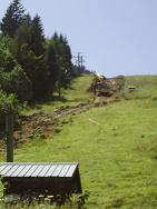 Installing snow cannons at ski resort Drouzin le Mont
