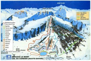 Piste map Drouzin le Mont / Col du Corbier with Renovated Pistes for 2011