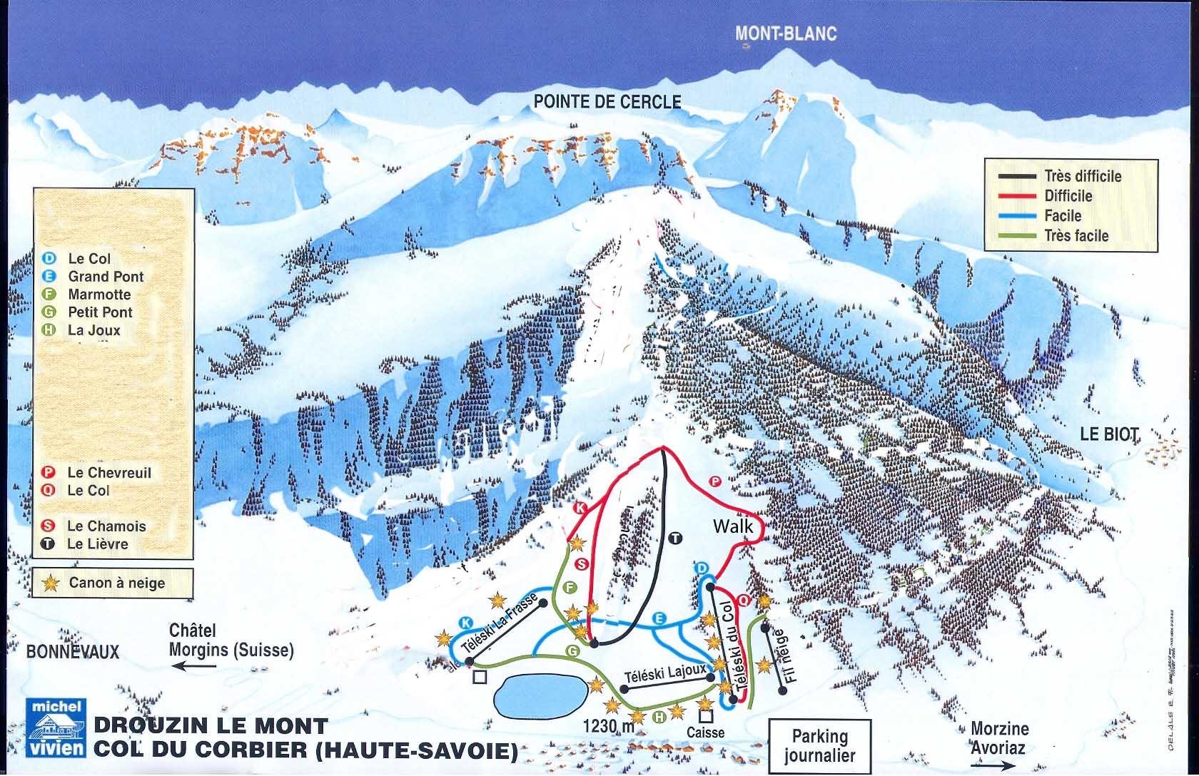 Lastest Piste map for Drouzin le Mont Ski Resort near Portes du